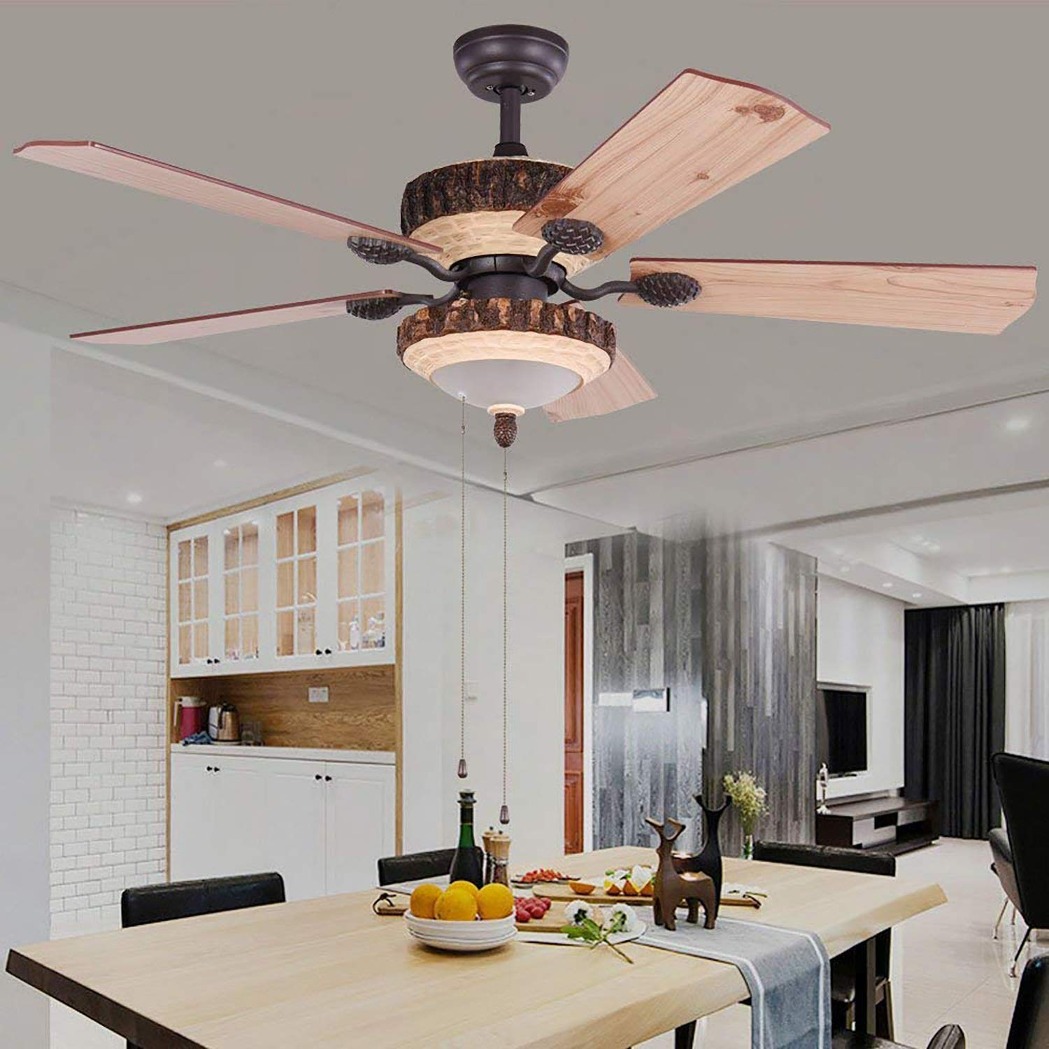 52 Inch Rustic Ceiling Fan With Lights and Remote Silent Fans Chandelier With 1 Resin 5 Reversible Wood Blades For Living Room Bedroom