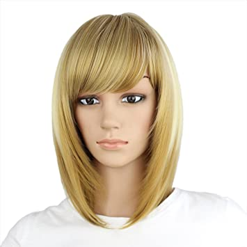 eNilecor Straight Short Bob Wigs 14 quot  with Side Bangs Cosplay Hair Wig  for Women Natural f247f7b7ae