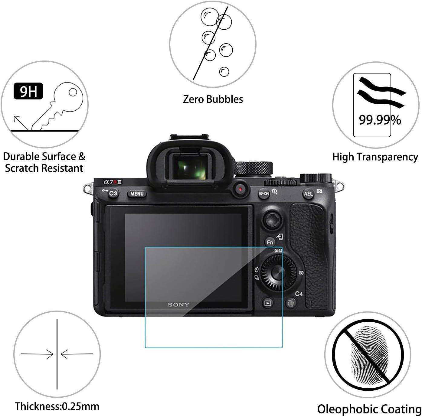 2x Vidrio Templado Pantalla Protección para Sony Alpha A7II A7III A7SII A7RII