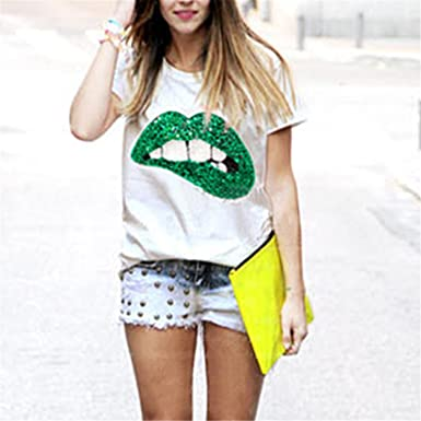 Hot Sale New Fashion Casual Vestidos Printed Red Lips Womens T-Shirts Brand Summer Short