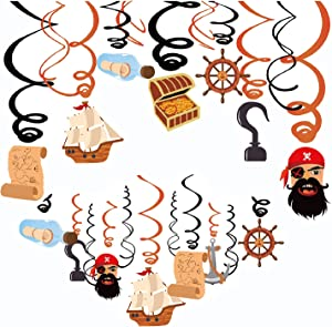 JHkim Pirate Party Supplies - 30CT Pirate Decorations, Hanging to Ceiling, for Pirate Themed Birthday Decorations