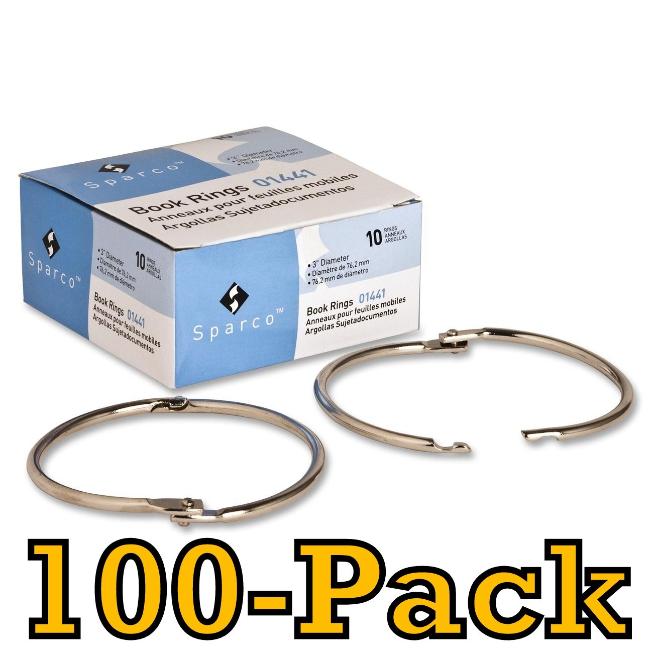 Value Pack of 100 Sparco Book Ring, 3-Inch Diameter, 100 per Box, Silver (SPR01441)