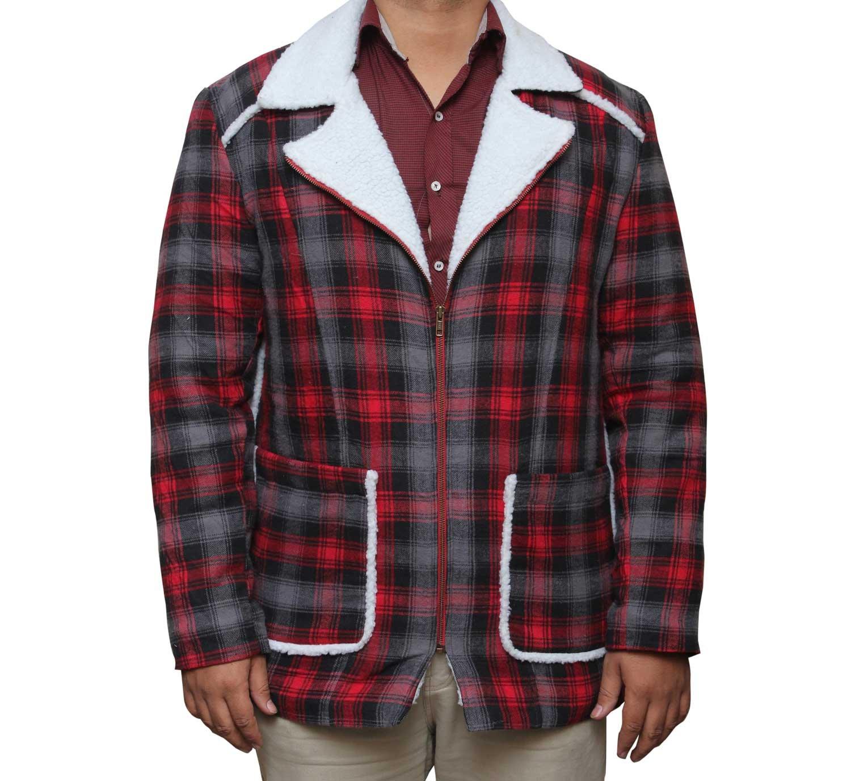 Deadpool Shearling Grey and Black Jacket - Shearling Jacket For Mens, L