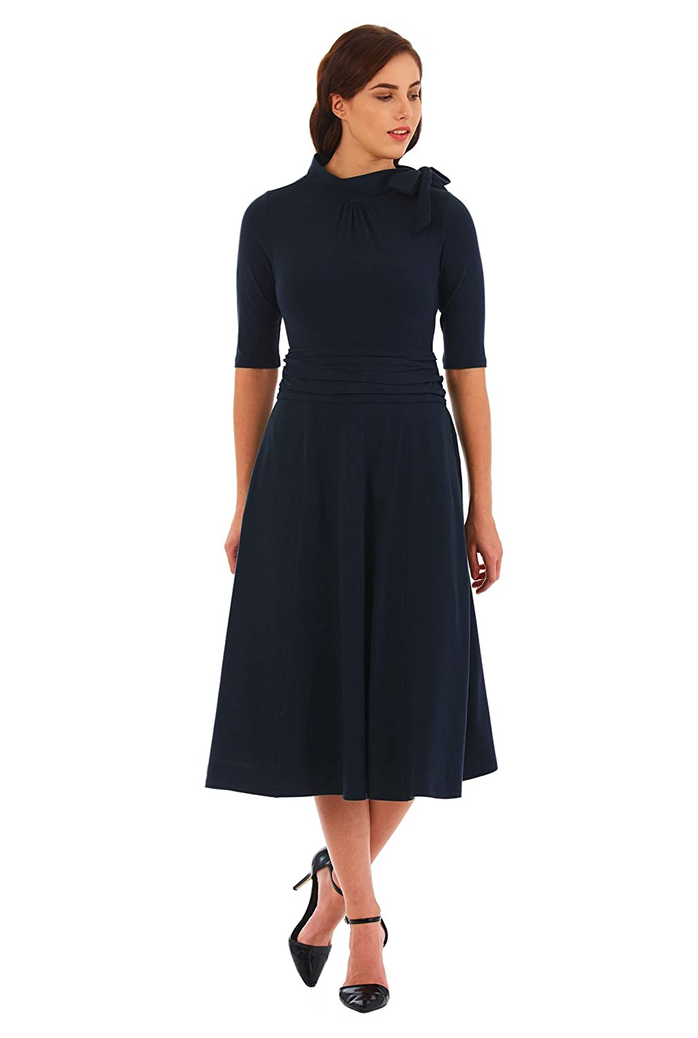 1940s Plus Size Fashion: Style Advice from 1940s to Today eShakti Womens Bow Tie Pleat Waist Cotton Knit Dress $54.95 AT vintagedancer.com