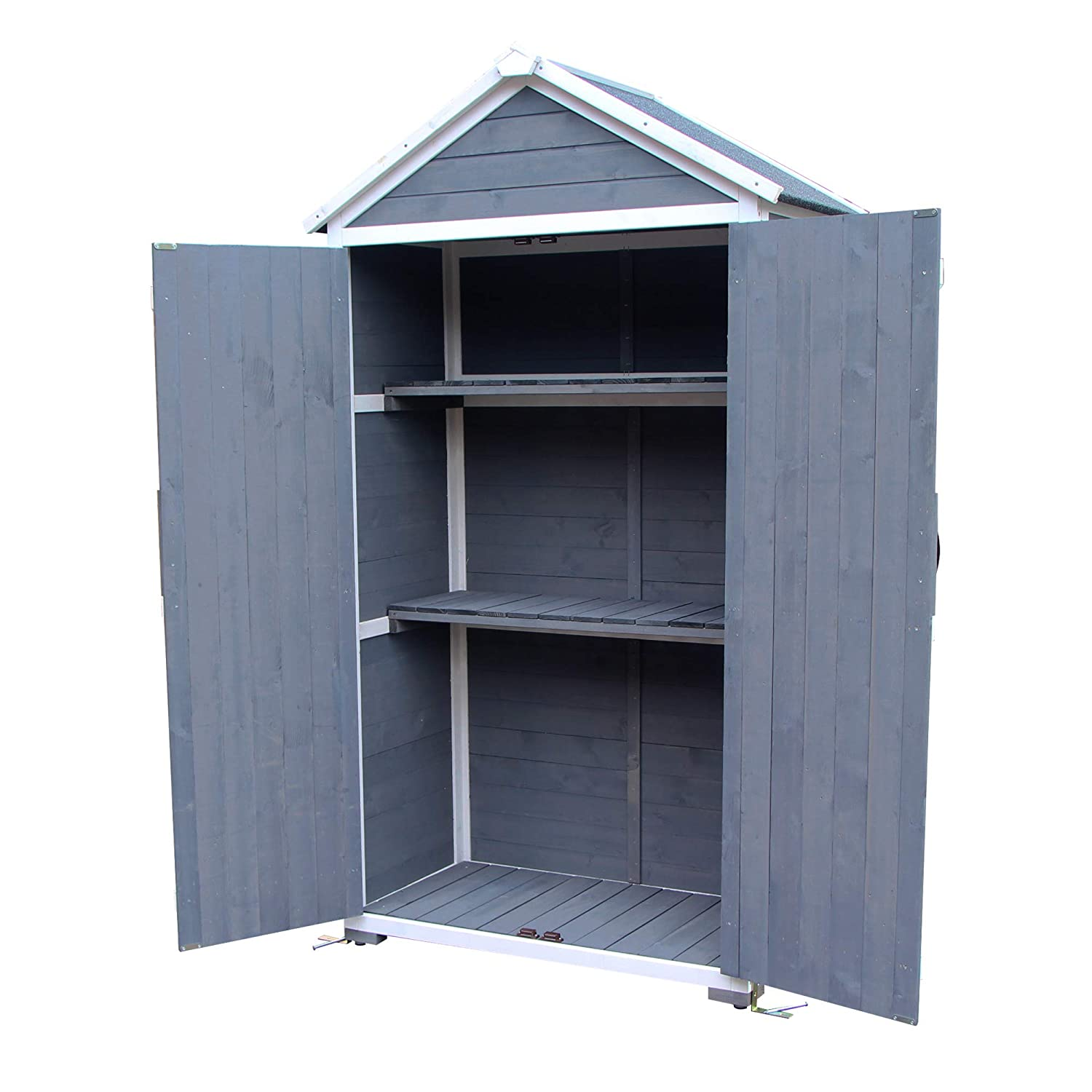 Grey MCombo Outdoor Storage Cabinet Tool Sheds Backyard Garden Utility Wooden Organizer with Lockable Double Doors 1000