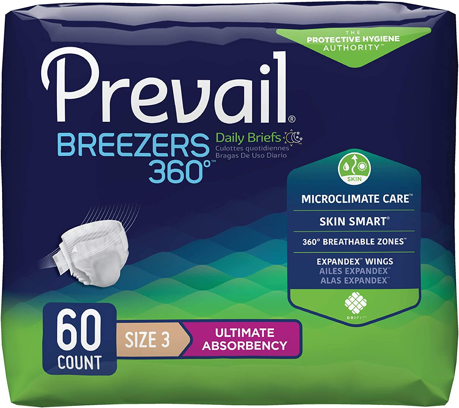 Prevail Breezers 360 Protective Underwear, Ultimate Absorbency, Size Three, 15 Count (Pack of 4 (60 Count))