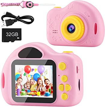 Amazon Com Aimason Kids Camera Digital Video Camera For Kids With 32gb Sd Card Children Camera Birthday Christmas New Year Gifts Toy For 3 4 5 6 7 8 9 10 Year Old Camera Photo