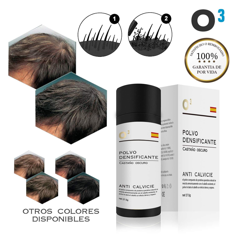 O³ Fibras Capilares Castaño Oscuro - Keratin Fibers Castaño Oscuro 100% Natural para Disimular Calvicie y Aumentar el volumen. Maquillaje Capilar por ...