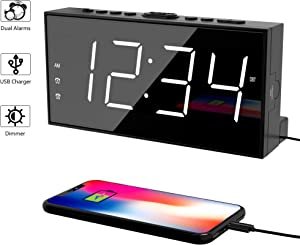 Alarm Clock for Bedroom, 2 Alarms Loud LED Big Display Clock with USB Charging Port, Adjustable Volume, Dimmable, Snooze, Plug in Simple Basic Digital Clock for Deep Sleepers Kids Elderly Home Office