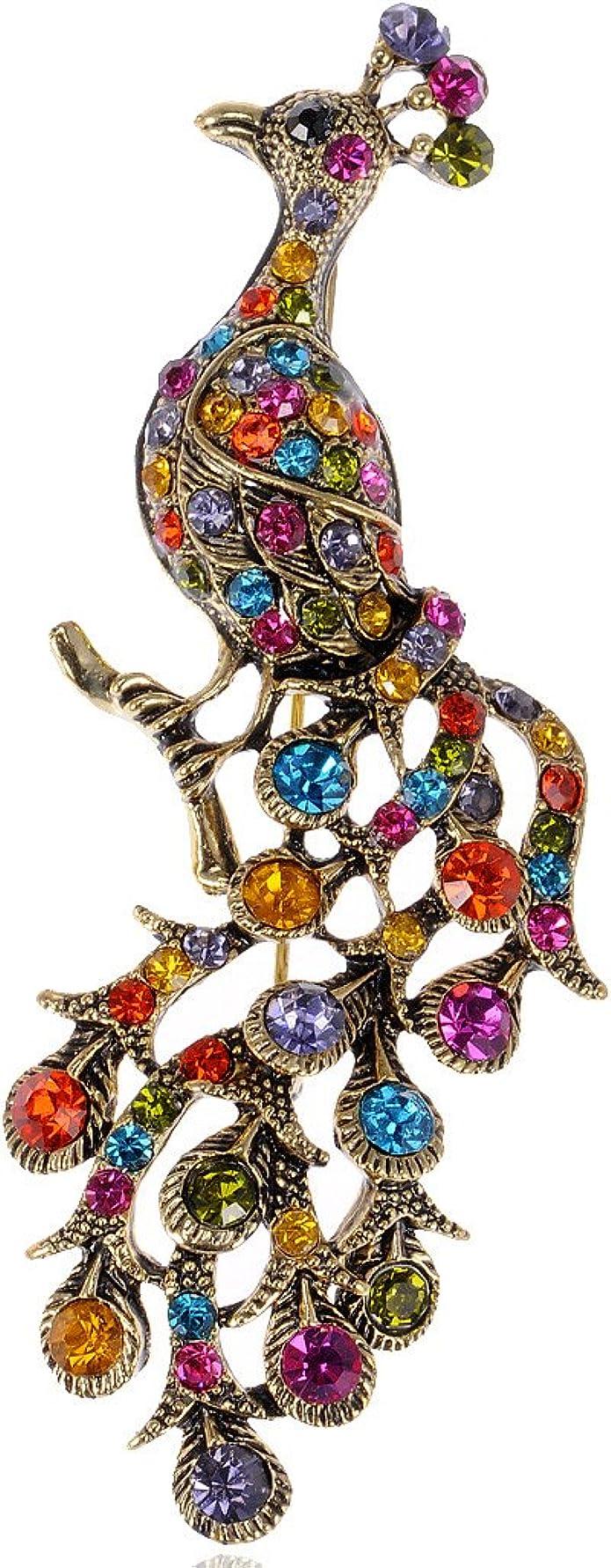Silver Tone Multi-Coloured Crystal Peacock Brooch Peacock Broach Bird Pin Badge