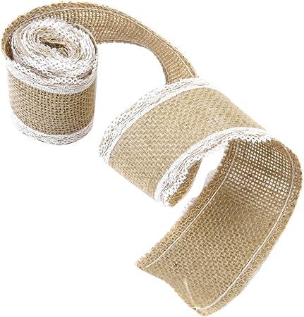 3 Rouleau Ruban en Jute et Dentelle Accessoire Bordure pour Couture Artisanat