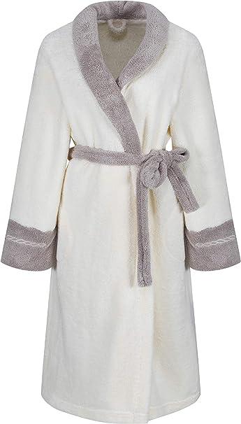 Femmes sortie de bain de luxe en coton doux LD Outlet Robe de chambre  Peignoir Style velours, longueur au genou avec fermeture Éclair