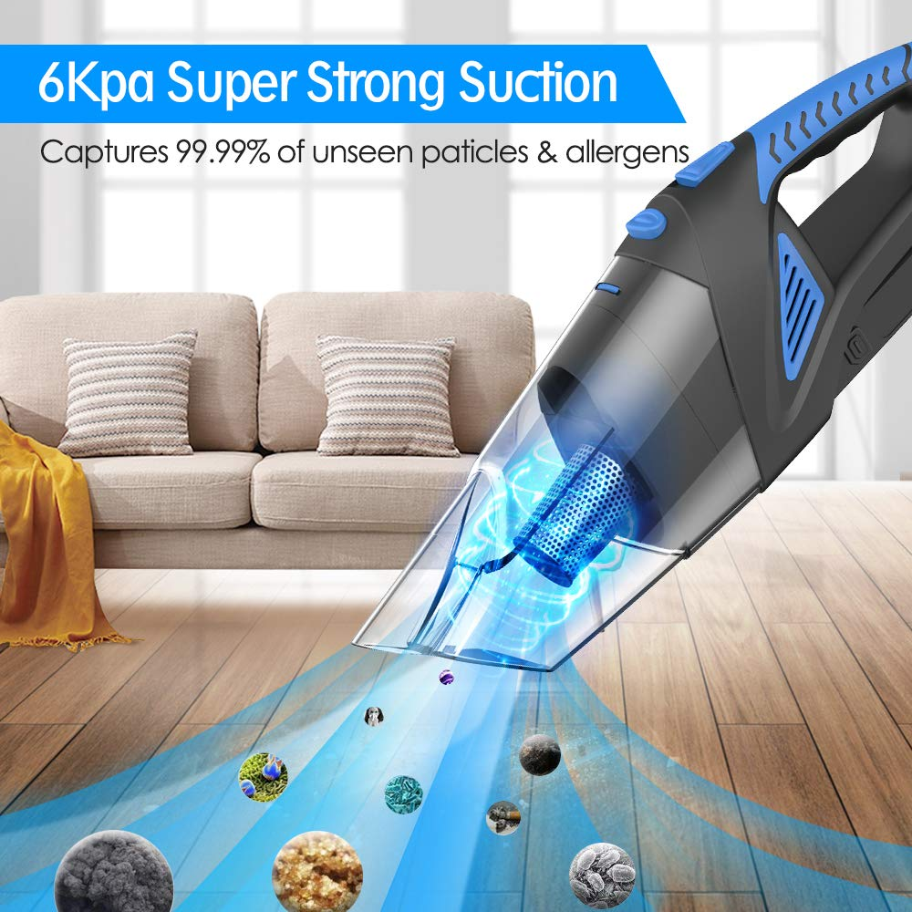 Cordless Handheld Vacuum – 6KPA Hand Vacuum Cleaner Rechargeable Hand Vac, 12V 120W Wet Dry Vacuum Dust Busters for Home Pet Hair Eraser Car Cleaning 6Kpa
