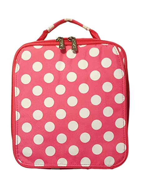 026633e9e033 Amazon.com: Viv & Lou Monogrammed Pink Polka Dot Back to School Lunch Tote:  Kitchen & Dining
