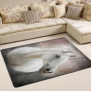 Woor Super Bequem Anti Rutsch Weiß Pferd Bereich Teppiche/Boden Matte/Bezug  Teppiche