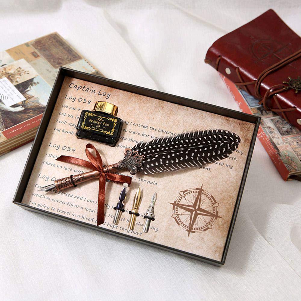 Retro Calligraphy Pen Set Feather Pen Writing Quill Ink Dip Pen Student Graduation Aolvo Antique Dip Feather Pen Set