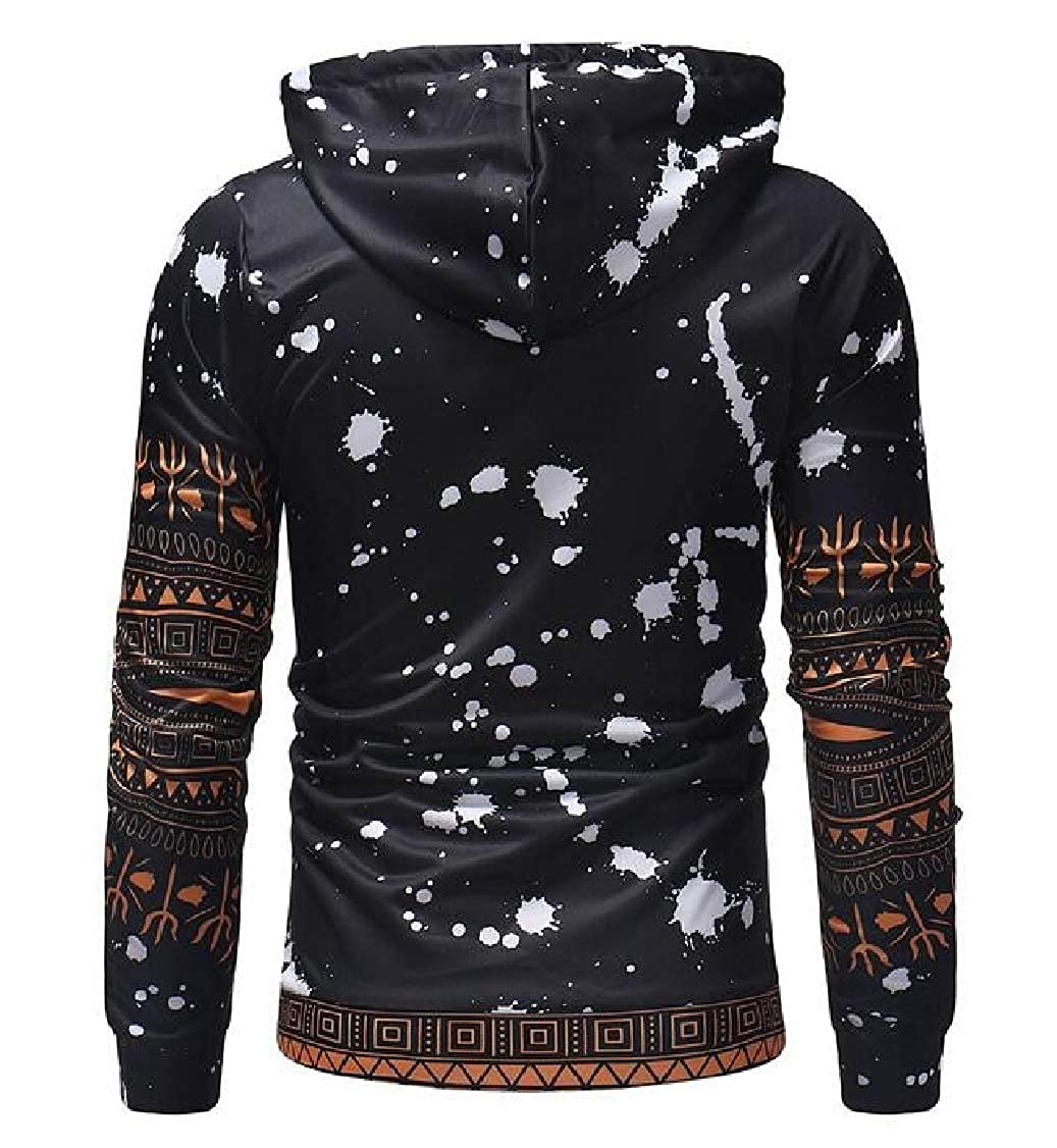 Hajotrawa Men Ethnic Style Drawstring Trendy Muslim Print Pullover Hooded Sweatshirts