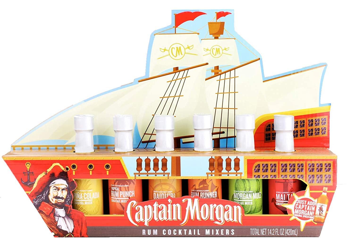 Thoughtfully Gifts, Captain Morgan Ship Cocktail Mixers, Includes Morgan Mule, Pina Colada, Rum Runner, Mai Tai, Strawberry Daiquiri, and Rum Punch, Pack of 6, 2.4 oz Each (Contains NO Alcohol)