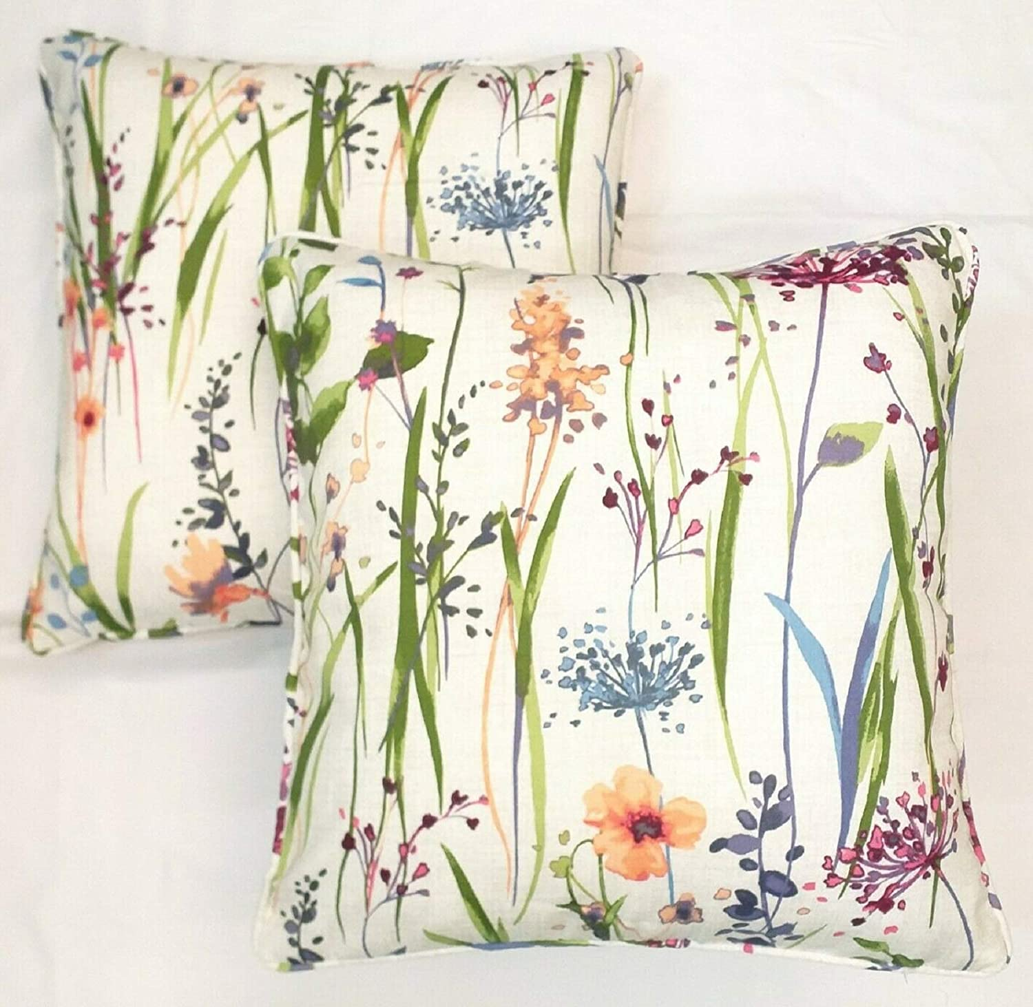 Maple Textiles Set Of 2 Meadow Flowers Cushion Covers Vibrant Pink And Purple Lilac Heather Botanical Flowers On Green Stems And Leafs Design On A White Background Pillow Case 18 X 18
