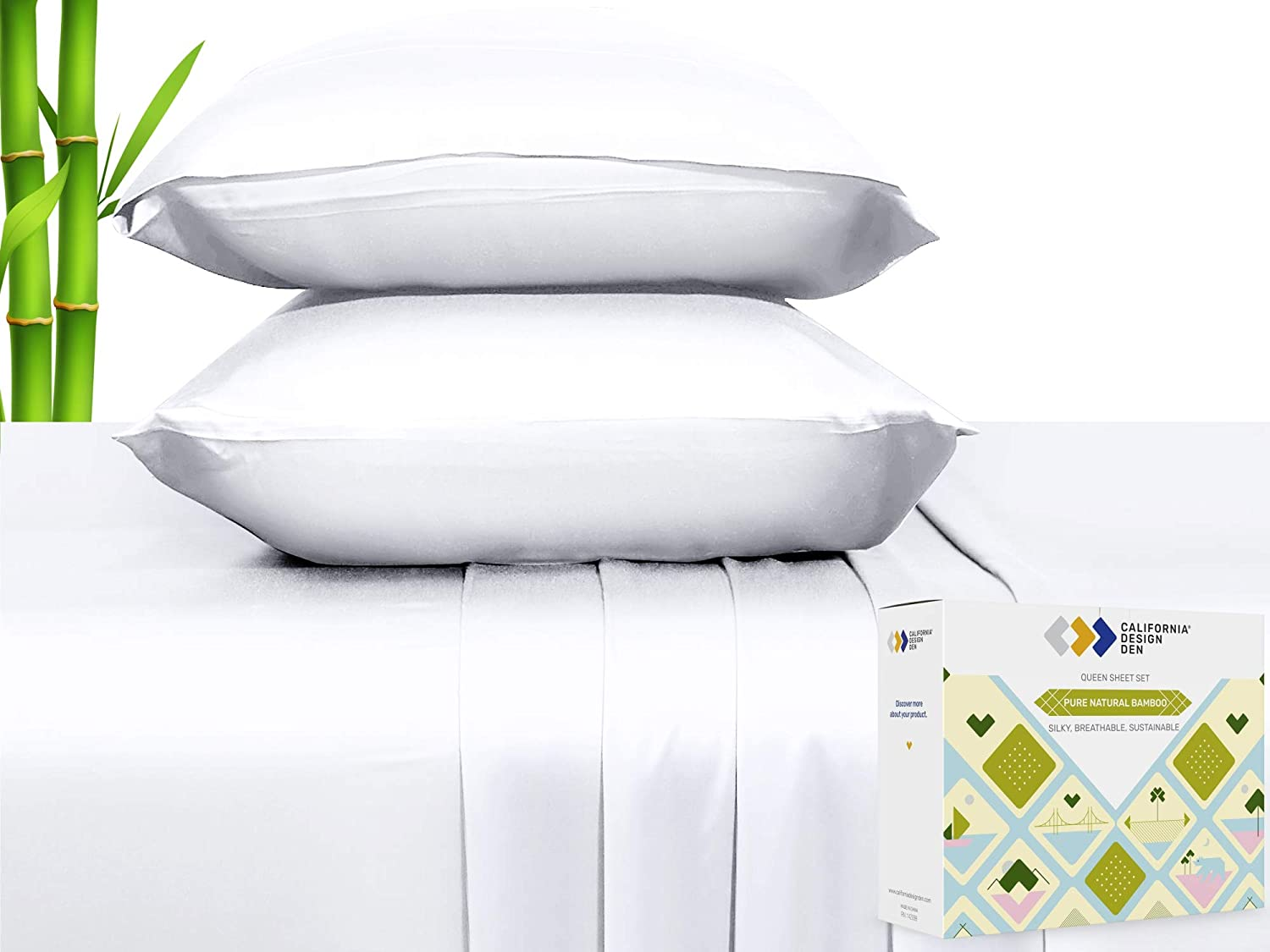 100% Natural Bamboo Sheets - Silky Soft Touch,Cool and Breathable, 4 Piece Hotel Luxury Sheet Set, Elasticized Deep Pocket for Snug Fit (Queen Size, Bright White)