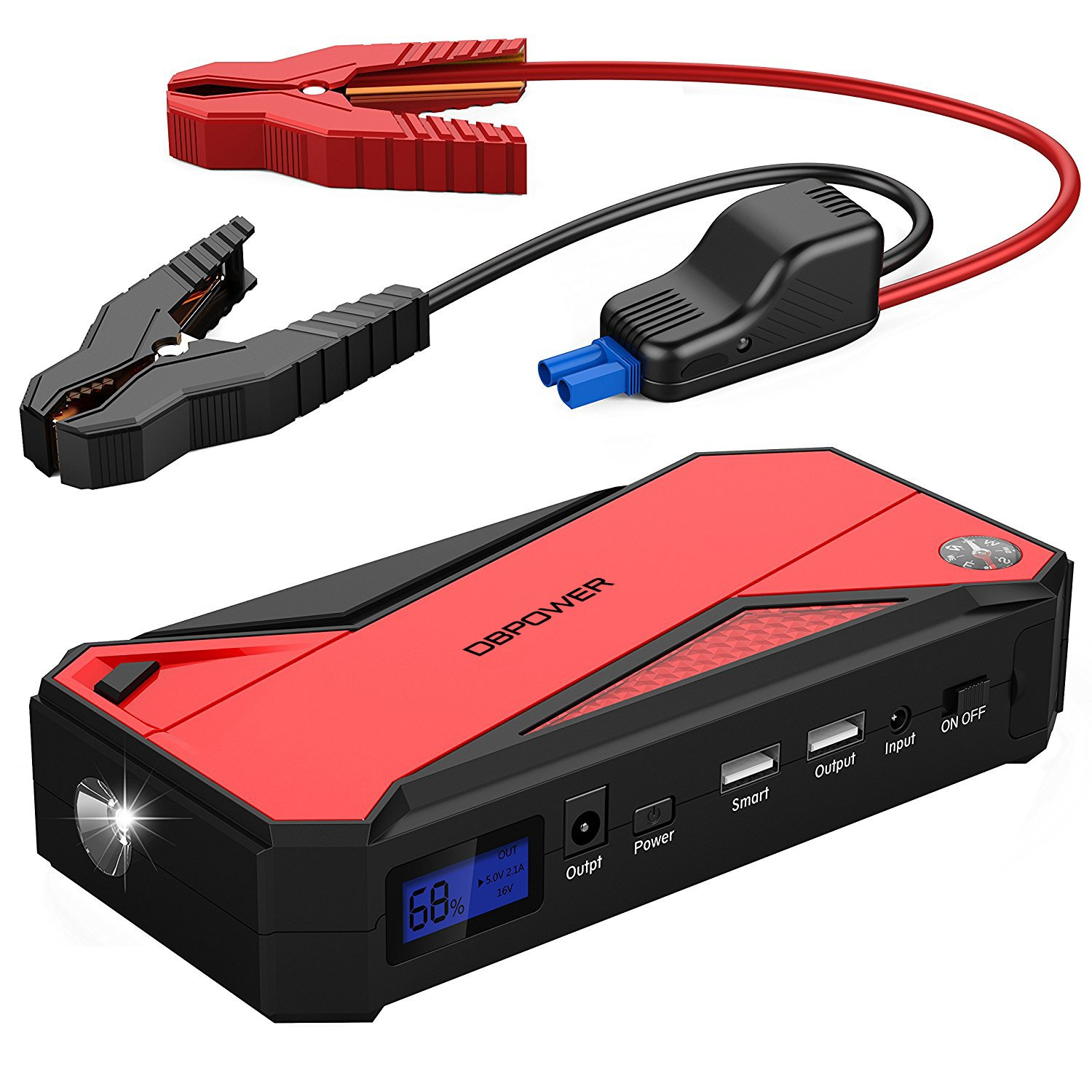 DBPOWER 600A 18000mAh Portable Car Jump Starter, Emergency Battery Booster Pack with Dual USB Charging Outputs, LED Flashlight, and Compass (Black/Red)