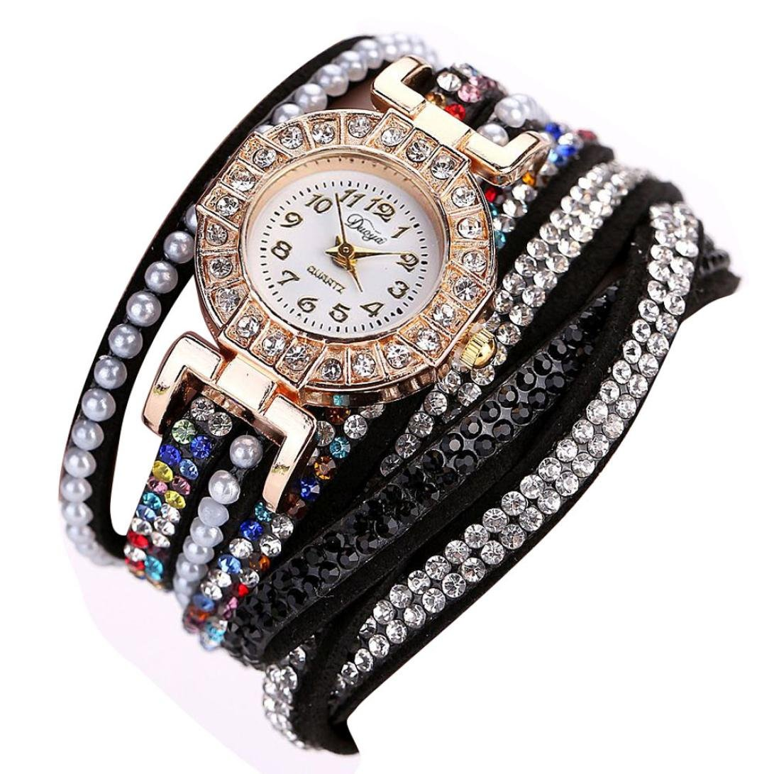 Hunputa Ladies Watch Women Pearl Scale Bracelet Quartz Wristwatch Crystal Diamond Clock Women Dress Watch (Black)
