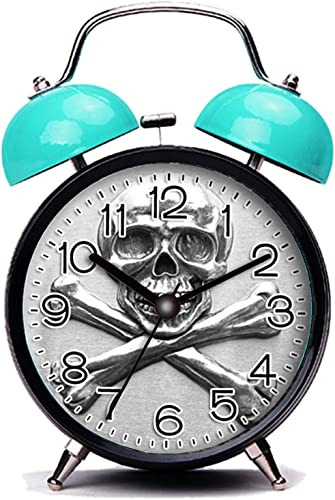 GIRLSIGHT3 Blue Alarm Clock,Skull Skull and Crossbones on Metallic Print Loud Alarm Clock Twin Bell Alarm Clocks with Nightlight