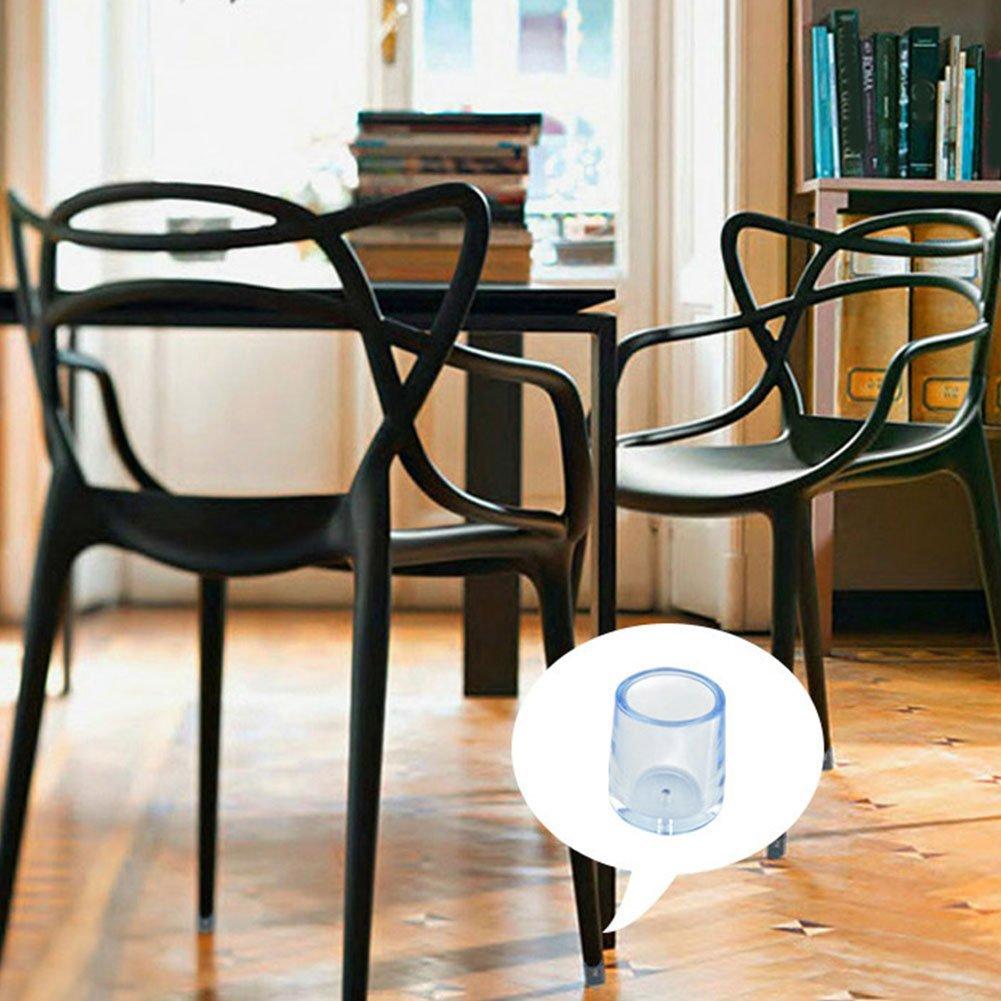 SUPEWOLD Chair Leg Caps Furniture Feet Pads Table Chair Leg Floor Feet Cap Cover Anti-slip Prevent Scratches Soft Clear Transparent Flexible Wood Floor Protectors 8pcs 12.7mm