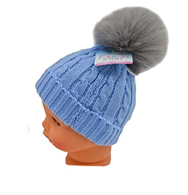 44e288f01d4 Soft Touch Newborn Baby Fur Bobble Pom Pom Hat Pink Blue Grey Winter Hat  0-12 Months (Blue with Light Grey Fur Pom