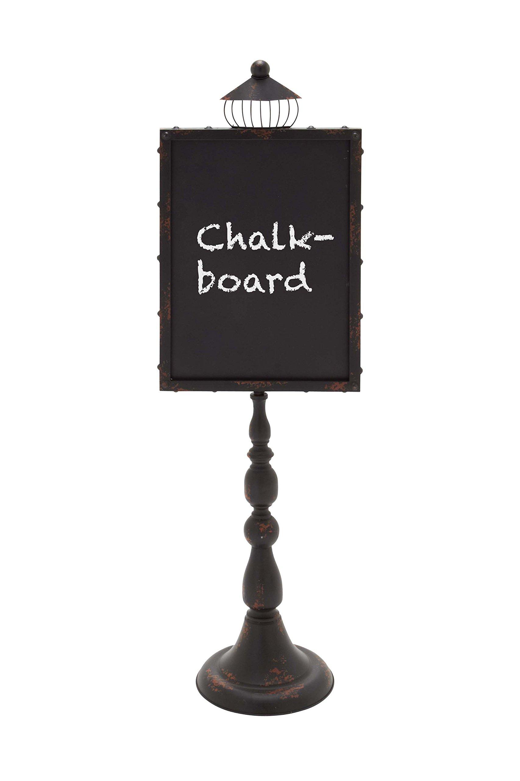 Woodland Imports Metal Wood Blackboard with Street Lamp Design by Benzara