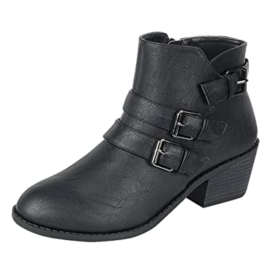 Forever Eury-4 Women's Comfort Stacked Chunky Heel Lace Up Ankle Booties
