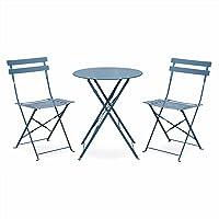 Salon de Jardin bistrot Pliable Emilia Rond, Table ⌀ 60cm avec Deux chaises Pliantes, Acier thermolaqué