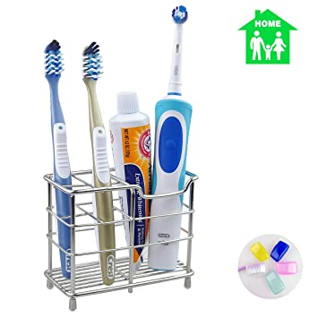 TOPVIP Stainless Steel Toothbrush Holder Kids Best Diy Toothpaste Holder  Bathroom Accesseries Stand For Shaveru0026Razoru0026Eyebrow Trimmeru0026Face