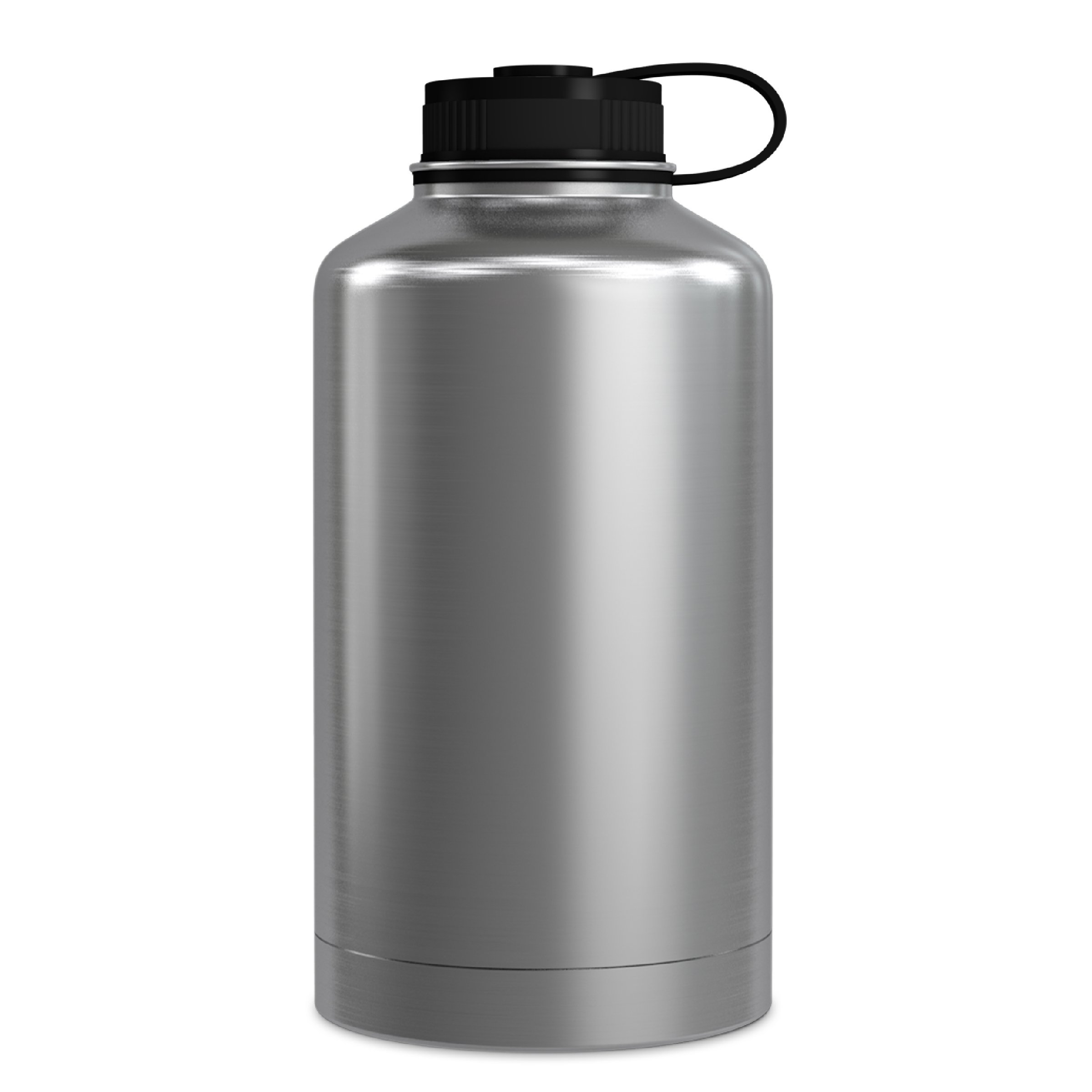 GEO 64oz Double Wall Vacuum Insulated Stainless Steel Leak Proof Sports Water Bottle, Wide Mouth w/BPA Free Screw Cap (Stainless Steel)