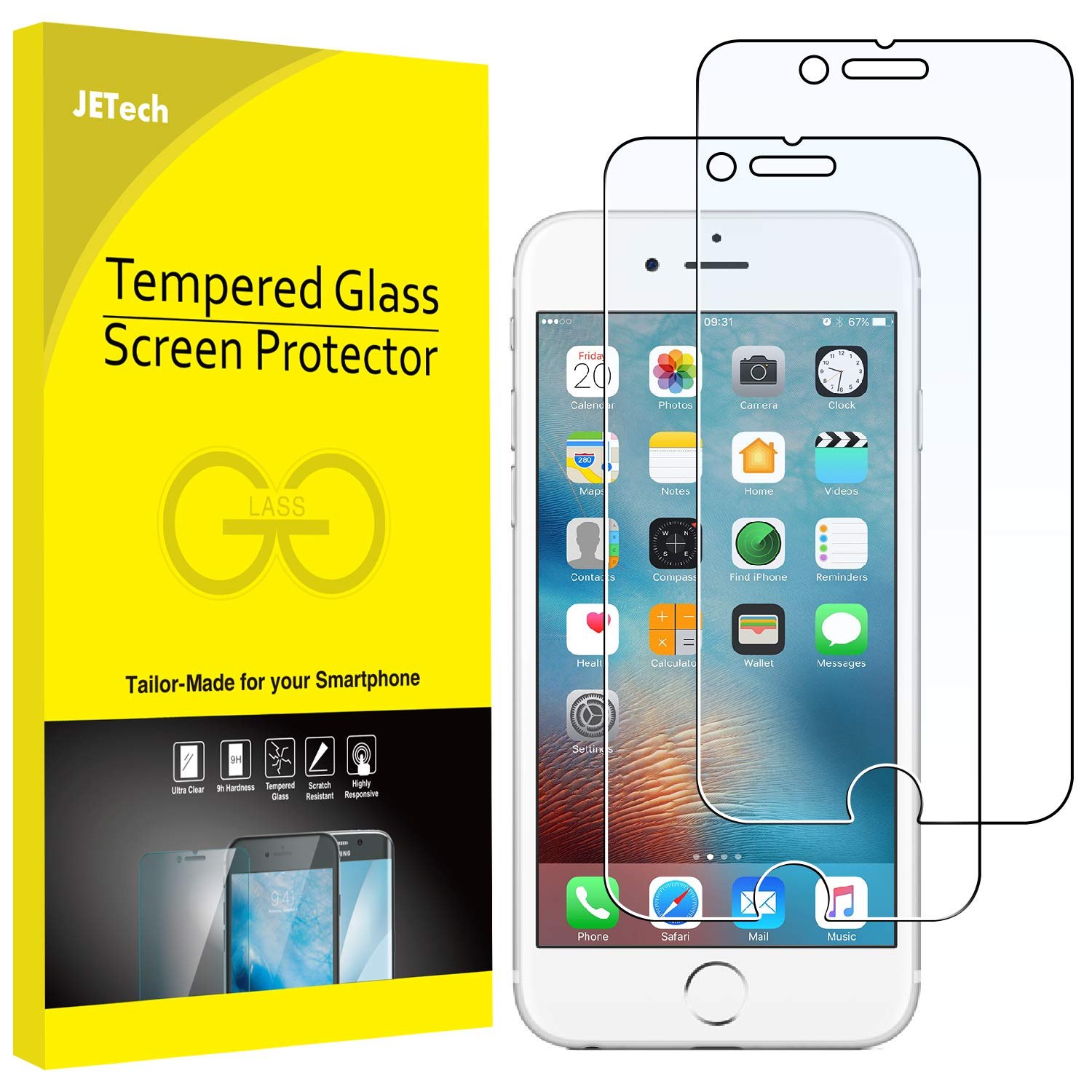 JETech Screen Protector for Apple iPhone 6 Plus and iPhone 6s Plus,  5 5-Inch, Tempered Glass Film, 2-Pack