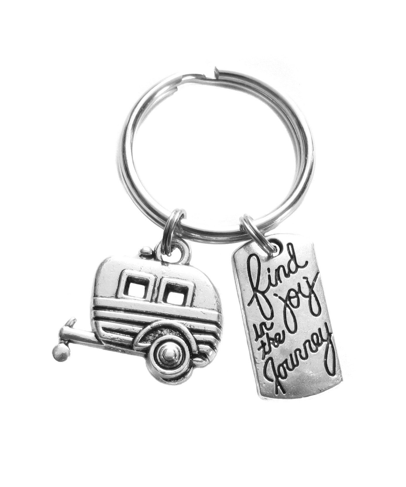 Camper Trailer RV Mini Camper Camping Find Joy in the Journey Charm Keychain Gift