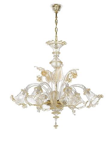 Come Pulire I Lampadari Di Murano.Lampadari Murano Darwin Cristallo Oro 6 Luci Amazon It Illuminazione