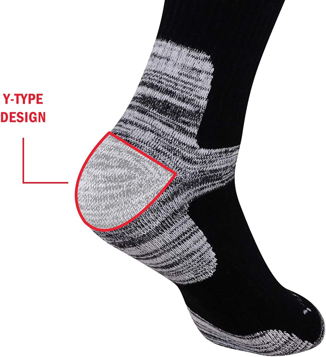 YUEDGE Mens 5 Pairs Wicking Breathable Cushion Anti Blister Casual Crew Socks Multi Performance Hiking Trekking Walking Athletic Socks
