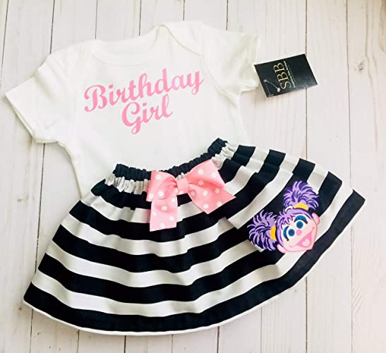 3869e6d16 Amazon.com: Abby Cadabby Birthday outfit, Elmo black and white striped  skirt and Sparkle gold Birthday girl tshirt: Handmade