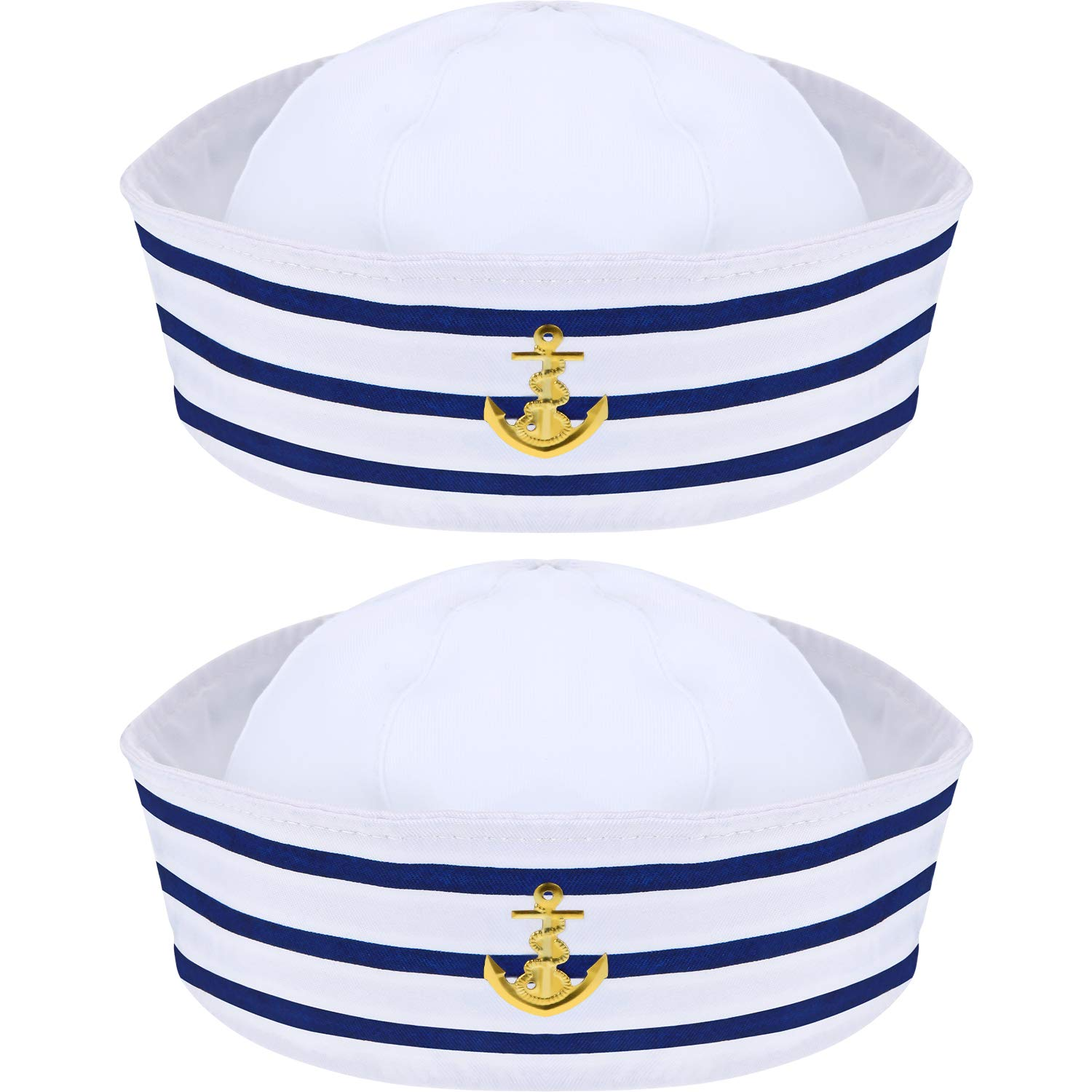 2 Packs Sailor Hat Captain's Hat Blue with White Sailor Hat for Costume Accessory