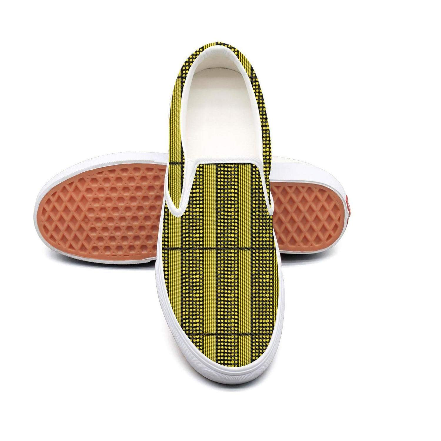 Vosda Stripe Collage Classic Womens Canvas Slip-Ons Loafer Shoes Sneaker