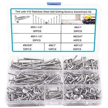 "#8 x 1/"" Self Drilling Screws Flat Head Sheet Metal Stainless Steel Qty 100"