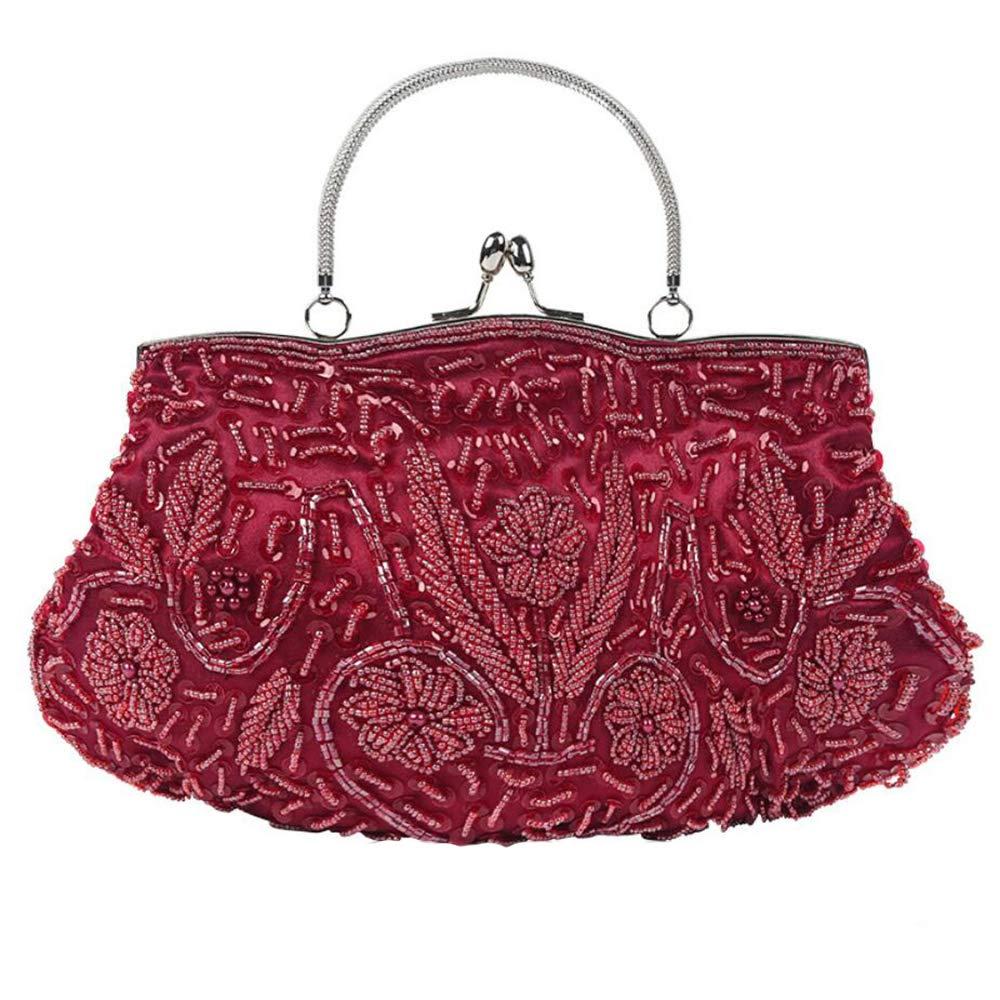 WUHX Frauen Vintage Kiss Lock Perlen Pailletten Design Blaume Dinner Clutch Luxus Abendkleid Schulter Messenger Bag B07FRBW5JT Schultertaschen Qualität