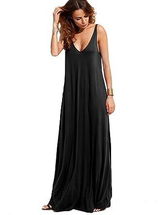 7f8db43c31f9 Verdusa Women's Casual Sleeveless Deep V Neck Knitted Shift Sexy Maxi Long  Dress Black XS
