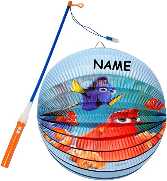 f/ür Kinder Papierlaterne LED Laternenstab Set: Lampion // Laterne aus Papier f/ür Laternenumzu.. incl Name RUND Findet Nemo Fisch Dory alles-meine.de GmbH 2 TLG