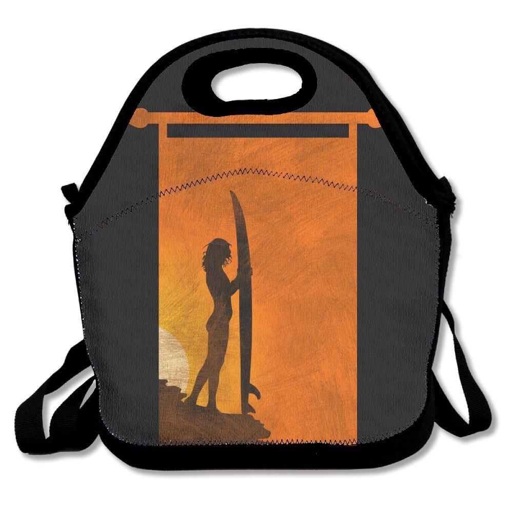 Surfer GirlサーフィンボードLunchバッグTote Handbag Lunchbox学校用作業アウトドア B075FR548T