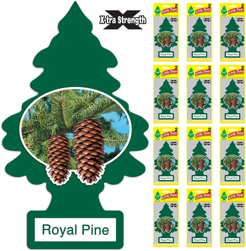 LITTLE TREES Car Air Freshener   X-tra Strength Provides Long-Lasting Scent for Auto or Home   Extra Boost of Fragrance   Royal Pine, 24 count, (12) 2-Packs