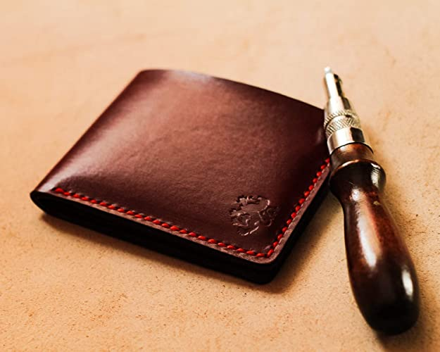 9a6687967ab9 Amazon.com: Leather Slim Bifold Wallet With Made of Hand Stitch- The ...