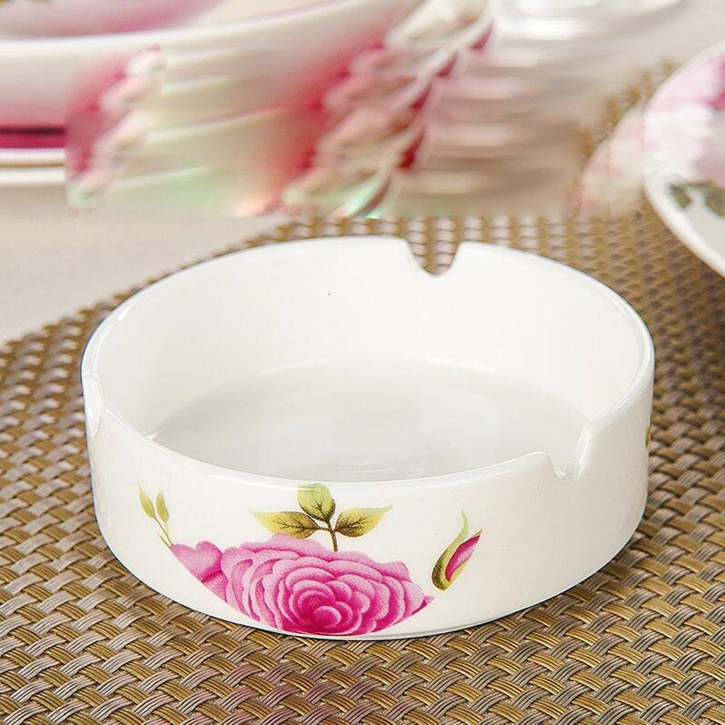 cendrier KKY-Enter Pink Flower Pattern Bone Chine Céramique Mode Creative Office Hotel, donnant aux Fumeurs