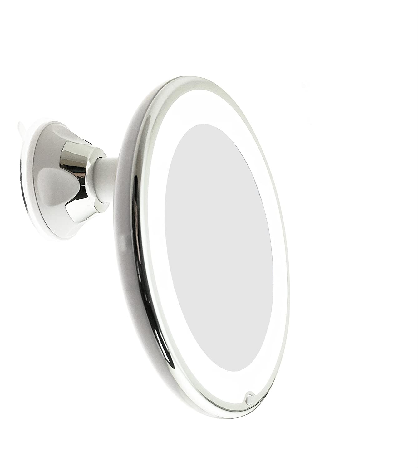 JiBen LED Lighted 5X Magnifying Makeup Mirror with Power Locking Suction Cup, Bright Diffused Light and 360 Degree Rotating Adjustable Arm, Portable Cordless Home and Travel Bathroom Vanity Mirror